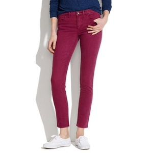Madewell Skinny Ankle Jeans in Dusty Burgundy